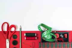 Sewing accessories in red and green colors Stock Photography