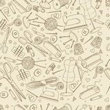 Sewing accessories seamless retro vector Stock Photography
