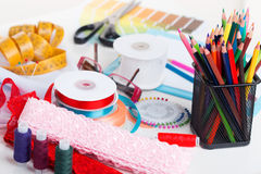 Sewing Accessories. Set of different sewing accessories - sewing background Royalty Free Stock Photos