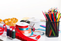 Sewing Accessories. Set of different sewing accessories - sewing background Royalty Free Stock Photography