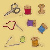 Sewing accessories. Threads, thimble scissors, needles. The set of items for embroidery vector illustration Royalty Free Stock Photos