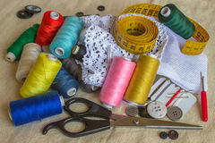 Sewing accessories. Spools of different color thread Royalty Free Stock Photos
