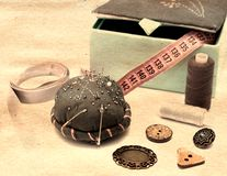 Sewing accessories on table Royalty Free Stock Photos