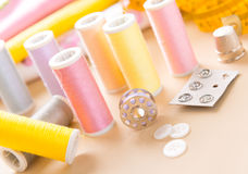 Sewing accessories on the table Royalty Free Stock Images