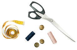 Sewing accessories and tape measure Royalty Free Stock Photo