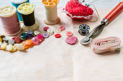 Sewing and accessories. Royalty Free Stock Photo