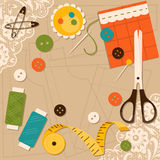 Sewing accessories. Vector illustration Royalty Free Stock Photos