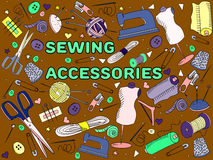 Sewing accessories vector Royalty Free Stock Photography