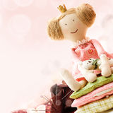 Sewing Accessory Background with Doll Stock Photo