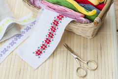 Sewing and ambroidery craft kit, embroidery thread in basket and other tools Royalty Free Stock Images