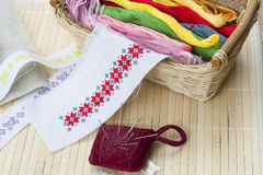 Sewing and ambroidery craft kit, embroidery thread in basket and other tools Royalty Free Stock Image