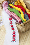 Sewing and ambroidery craft kit, embroidery thread in basket and other tools Stock Photos