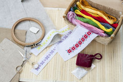 Sewing and ambroidery craft kit, embroidery thread in basket and other tools Stock Photo