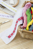 Sewing and ambroidery craft kit, embroidery thread in basket and other tools Stock Images