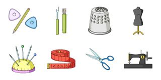 Sewing, atelier icons in set collection for design. Tool kit vector symbol stock web illustration. Stock Photos