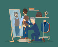 Sewing at atelier. Man making clothes at the tailor Royalty Free Illustration