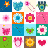 Sewing background. Sewing elements; colorful cute background for kids Stock Image