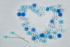 Sewing background - buttons as a heart stock photos