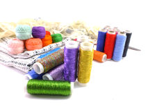 Sewing background with color threads Royalty Free Stock Photos