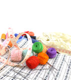 Sewing background with color threads Royalty Free Stock Images