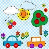 Sewing background fabric for kids Stock Images