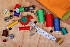 Sewing background items Royalty Free Stock Photos