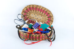 Sewing basket filled alpha. Sewing basket filled with sewing supplies royalty free stock photography