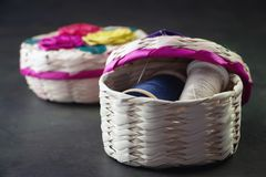 Sewing baskets handcraft of Mexico City with many colors stock images