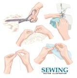 sewing Beeldverhaal polair met harten Royalty-vrije Stock Fotografie