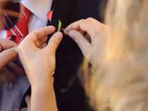 Sewing Boutonniere Royalty Free Stock Photography