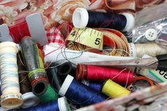 Sewing Box. A sewing box full of threads and needles Royalty Free Stock Photo