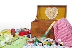 Sewing box. Objects and helpful own a sewing amateur for various sewing jobs royalty free stock photos