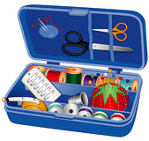 Sewing Box with Tools and Supplies vector illustration