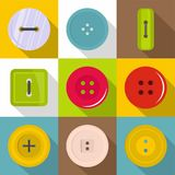 Sewing button icons set, flat style Stock Photography