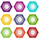 Sewing button with a thread icon set color hexahedron Royalty Free Stock Photography