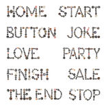 Sewing buttons Alphabet. The words home, start, button, joke, love, party, finish, sale, the end, stop are made up of sewing buttons stock photography