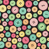 Sewing Buttons As Seamless Pattern. Colorful Sewing Buttons As Seamless Pattern Vector Illustration