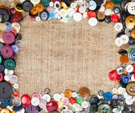 Sewing Buttons Framing Fabric Background Royalty Free Stock Image