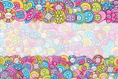 Sewing buttons handmade craft concept. 3d cartoon doodle background design. Stock Photo