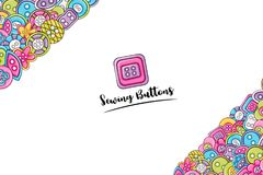 Sewing buttons handmade craft concept. 3d cartoon doodle background design. Royalty Free Stock Photo