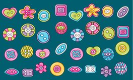 Sewing buttons handmade craft icons concept. Cartoon doodle sticker design. Royalty Free Stock Image