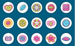 Sewing buttons handmade craft icons concept. Cartoon doodle sticker design. Stock Photo