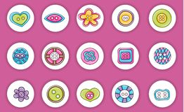 Sewing buttons handmade craft icons concept. Cartoon doodle sticker design. Stock Images