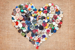 Sewing buttons heart Royalty Free Stock Photography