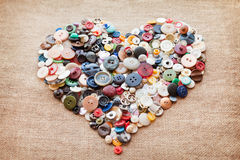 Sewing buttons heart. Buttons heart. Valentine's Day Royalty Free Stock Photos