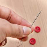 Sewing Buttons Represents Stitches Needles And Tailor. Sewing Buttons Indicating Needlework Seamstress And Stitches Stock Photos
