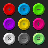 Sewing Buttons Set on Dark Background. Vector Royalty Free Stock Photo