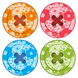 Sewing buttons set vector red orange, blue and green colors with floral background and sewing thread Stock Photo