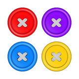 Sewing buttons set vector red, purple, blue, and yellow with whi Royalty Free Stock Images