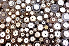 Sewing buttons. Various sewing buttons for sale on a clothes market in Sittard, Netherlands Stock Photo